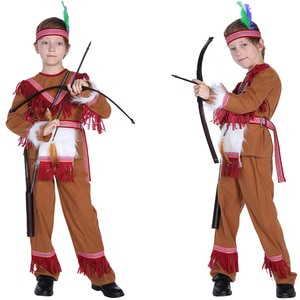 Boys Indian Prince Hunter Archer Warrior Superhero Outfit Kid Hero Suit Halloween Cosplay Costumes Party Role Play Dress Up Suit