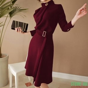 2021Autumn Women Elegant Button Stand neck Belted Long Sleeve Work Business Party black wine red Split Dress