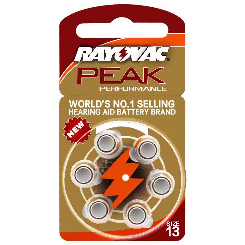 Батареи слухового аппарата 6 шт/1 карта RAYOVAC PEAK-A13/PR48/S13 цинк воздушный аккумулятор 1,45 в Размер 13 диаметр 7,9 мм Толщина 5,4 мм