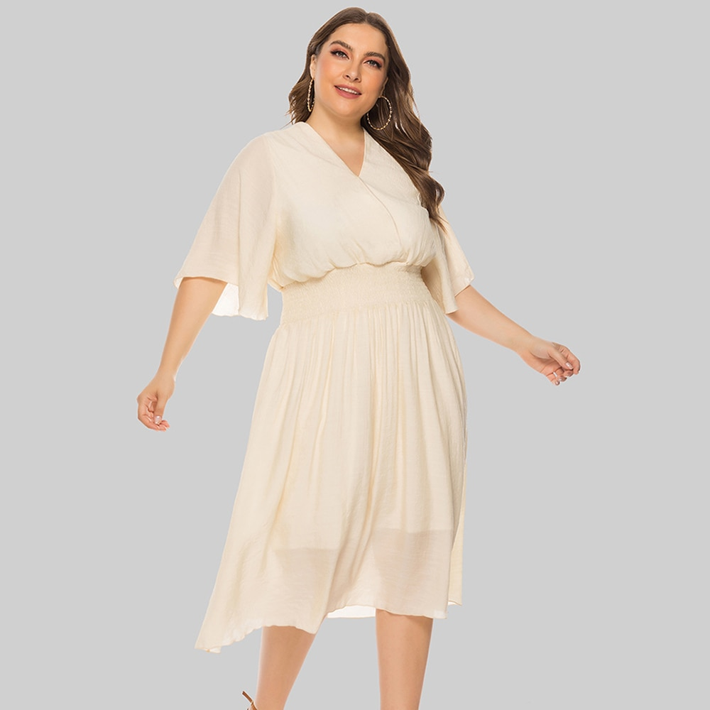 Women Dress Plus Size Summer Elegant Flying Sleeves Casual Dress 2021 New V Neck Loose Folds Party D