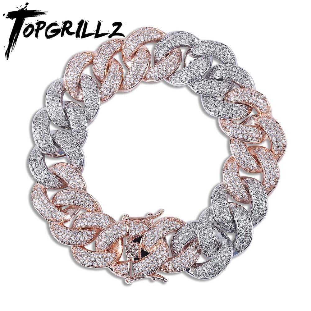 TOPGRILLZ-سوار شبكي كوبي للرجال ، مجوهرات هيب هوب ذهبية اللون مع زركونيا مكعب مايكرو بافيه ، هدية