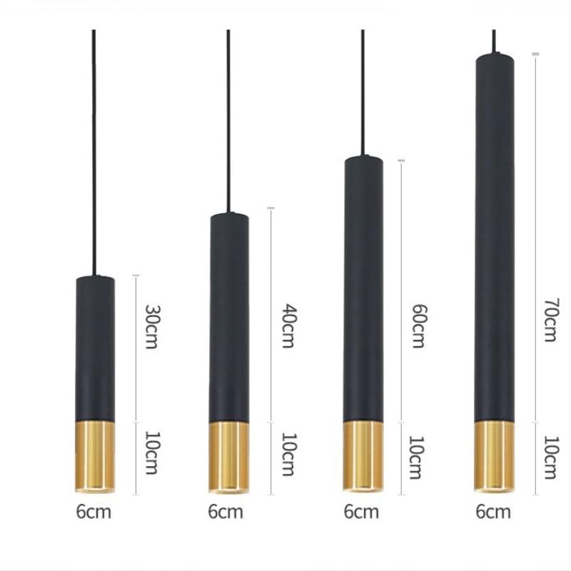 Diâmetro 6cm h 50 cm 10 w alumínio preto e ouro conduziu a lâmpada pendente