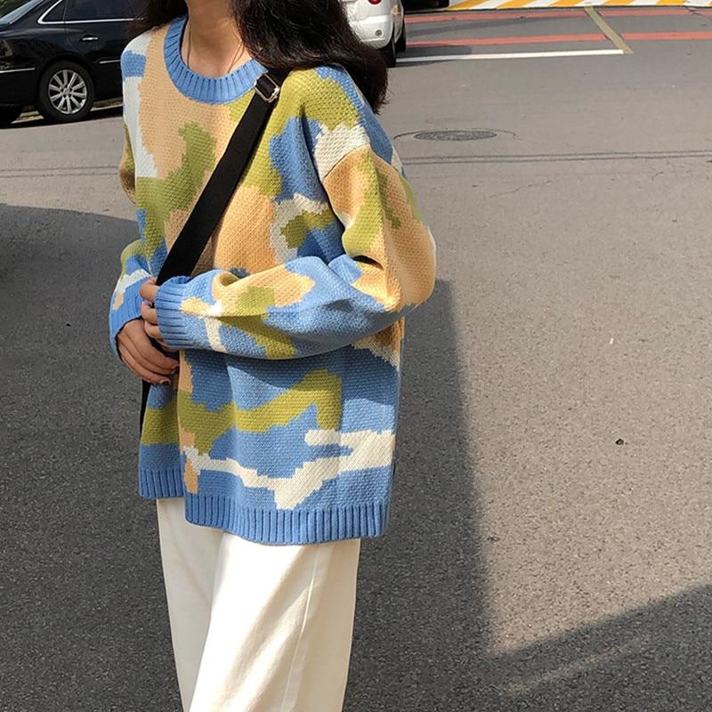 3 вида цветов корейский стиль свободные вязаные теплые свитера женские цветные камуфляжные женские свитера и пуловеры