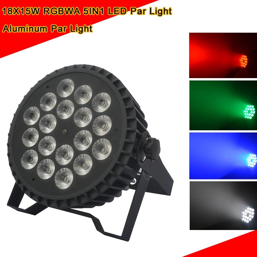 Aluminum Alloy LED Flat Par 18X15W Lighting DJ Par Cans RGBWA DMX512 Light Dj Wash Lighting Stage Light Disco Party Decorations