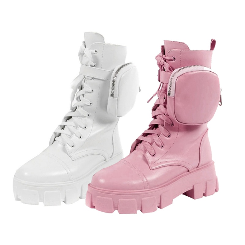 Cool Boots With Pocket Designer Shoes For Women 2021 Kawaii Platform Boots Lace Up Chunky Heel Belt