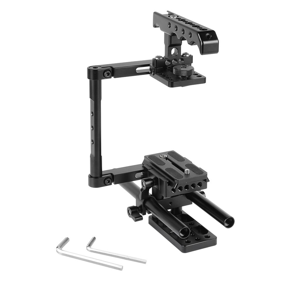 KIMRIG-مجموعة قفص نصف DSLR مع مقبض علوي ، لوحة Manfrotto QR ، قضيب 15 مللي متر ، حامل لكاميرات DSLR Canon Nikon Sony العالمية