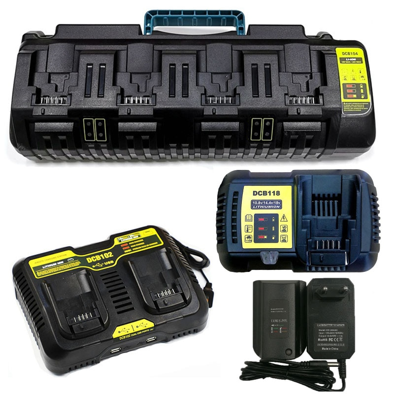 Cargador de batería Li-Ion DCB104 DCB102 DCB118 DCB1418 para Dewalt 14,4 V 18V 20V de la batería de litio de DCB140 DCB183 DCB200