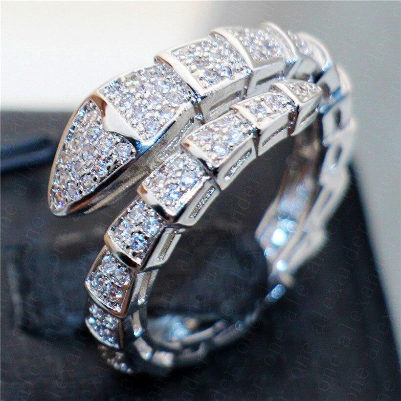 Marca 925 anillos de plata de ley de serpiente para mujeres pavé de lujo Anillo de compromiso de diamante boda Topacio Blanco estampado de joyas 10kt