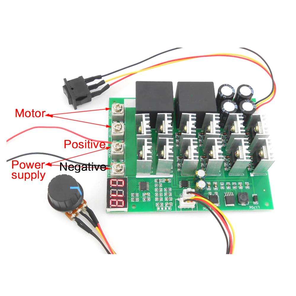 60A 10-55 فولت شاشة ديجيتال PWM سرعة وحدة تحكم إلى الأمام انعكاس 0 ~ 100% قابل للتعديل موتور تيار مباشر