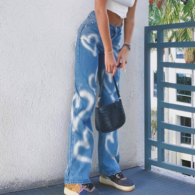 Trendy Graffiti Heart Print Straight Jeans Women's Stylish High Waist Chic Casual Denim Pants Trousers for Daily Shopping
