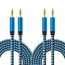 Cable auxiliar de nailon de 1m, Cable auxiliar de 3,5mm a 3,5mm, Cable de Audio macho a macho para coche, Cable auxiliar para iPhone, Samsung y Xiaomi 2 unidades