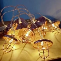 retro lampshade retro industrial string light lamp 10203040 led wind wrought iron rose gold geometric cafe party decoration