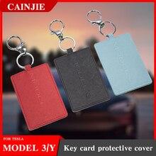 Model Y 2021 Car Leather Key Card Holder Protector Cover Key For Tesla Model 3 Accessories Black Key