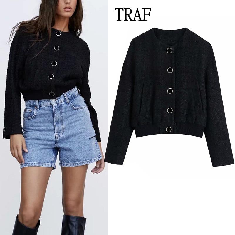 TRAF Za النساء سترة 2021 الخريف الملمس Vintage زر جيوب قصيرة سترة معطف النساء الملابس غير رسمية الدافئة شيك القمم أنثى