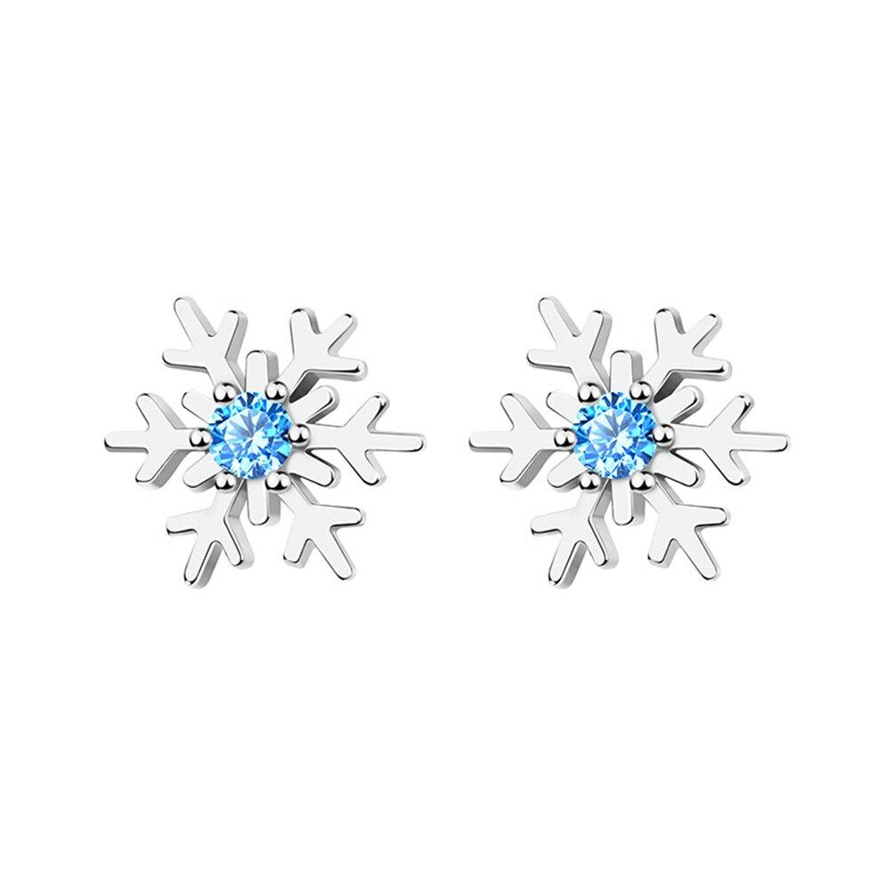 925 серебро снежинка серьги Белый Синий Циркон Серьги Гвоздики в форме снежинок для женщин 2021 Черная пятница