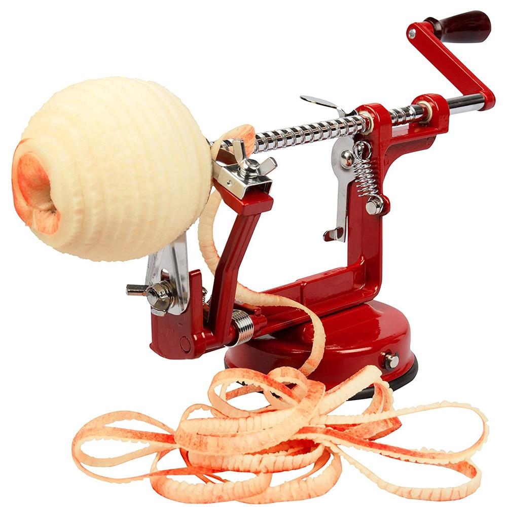 Descascador de maçã slicer 3 em 1 aço inoxidável frutas descascador com sucção baseslinky máquina processadores alimentos cozinha acessórios ferramenta