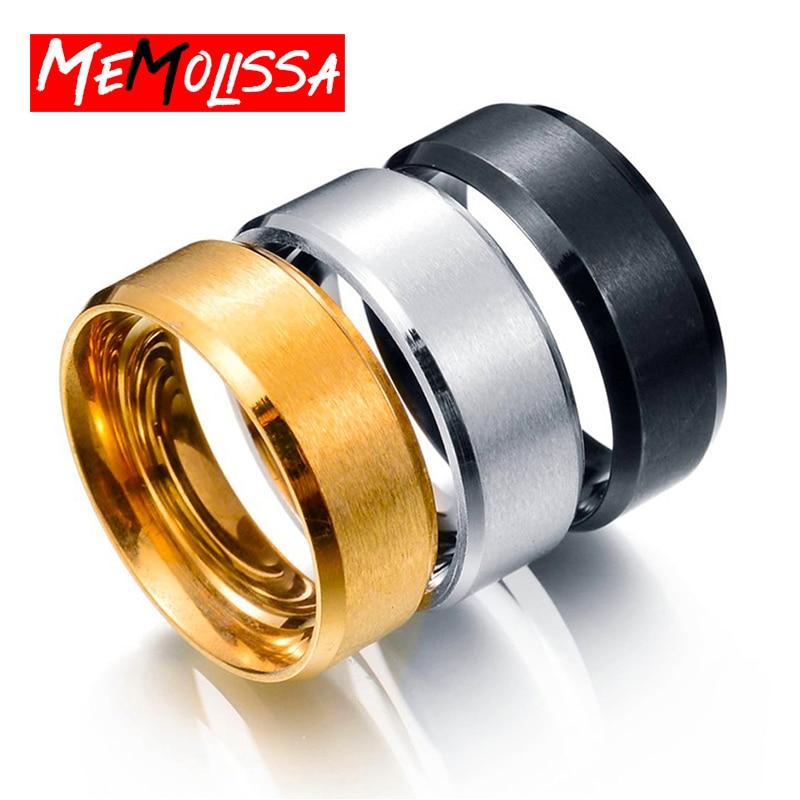 Nova moda 8mm clássico anel masculino 316l aço inoxidável jóias anel de casamento para o homem banda casual esporte namorado presente hotsale