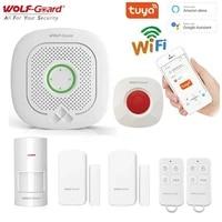Wolf-Guard     systeme dalarme anti-cambriolage intelligent  wi-fi  Tuya  433MHz  sans fil  sirene  detecteur en Mode sonnette  controle via application Alexa   Google