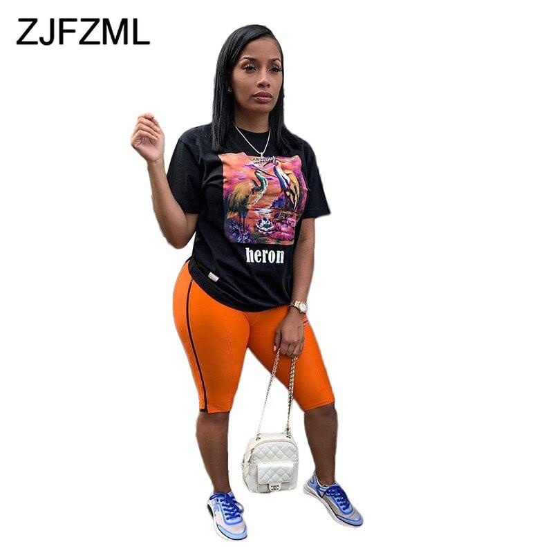 Сексуальный комплект из 2 предметов с принтом на день рождения для женщин, черная футболка с коротким рукавом, штаны до колен для фитнеса, плюс размер, повседневный летний комплект