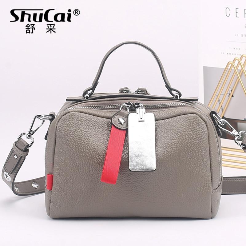 حقيبة يد جلدية أصلية للنساء ، حقيبة كتف رمادية عصرية على طراز بوسطن ، حقيبة حمل غير رسمية