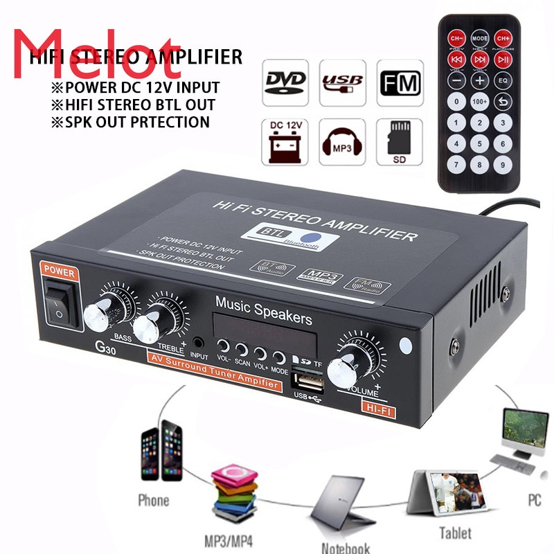 European Standard G30 Smart Digital Amplifier Built-in Bluetooth Bluetooth/USB/SD/FM Hot Selling Amplifier enlarge