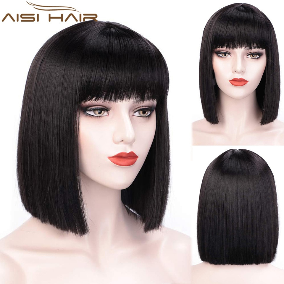 AISI HAIR Short Bob Wig With Bangs for Women Synthetic Wigs Black Pink Purple Party Daily Use Shoulder Length