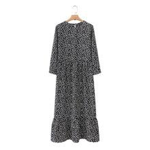Vadim mujeres negro estampado de puntos Maxi vestido plisado de tres cuartos de manga femenina Casual recto Vestidos Chic tobillo longitud Vestidos