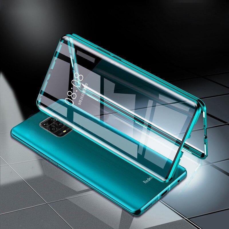 Magnéticos 360 caja de Metal Redmi note 9S xiomi Redme Nota 9 s 9 s de doble cara funda de vidrio templado para Xiaomi Redmi note 9 s