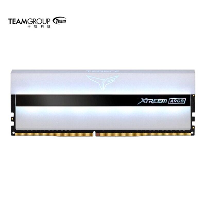 TEAMGROUP T-Force Xtreem ARGB 4000MHz CL18 16GB (2x8GB) PC4-32000 ثنائي القناة DDR4 درام سطح المكتب الألعاب ذاكرة عشوائية Ram أبيض