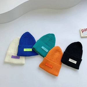 Autumn Winter Kids Boy Girl Solid Color Knitted Beanie Cap Crochet Baby Hats Bonnet Children's Accessories 1-4 Years Old