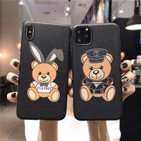 leather pattern bear case for iphone 12 pro max silicone phone cover for iphone x 7 8 6s plus cases soft tpu cover for iphone e0
