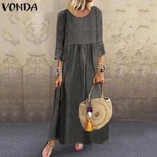 VONDA vestido de mujer Vintage 3/4 manga Swing partido Maxi vestido largo 2020 verano vestido de verano bohemio vacaciones Vestidos Mujer S-5XL