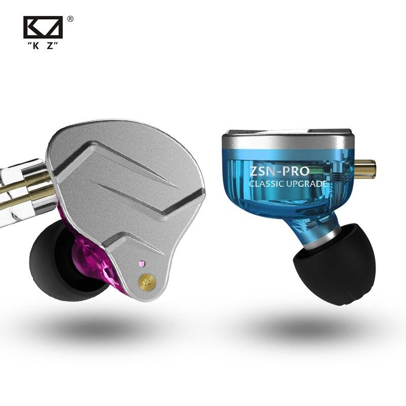 Auriculares KZ ZSN Pro con Monitor de oído, tecnología híbrida de auriculares de Metal auriculares con graves Hifi auriculares deportivos con cancelación de ruido ZSX