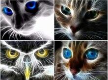 Diamant peinture chat peinture avec diamant rond complet broderie animaux image de strass diamant mosaïque dessin animé décoration murale
