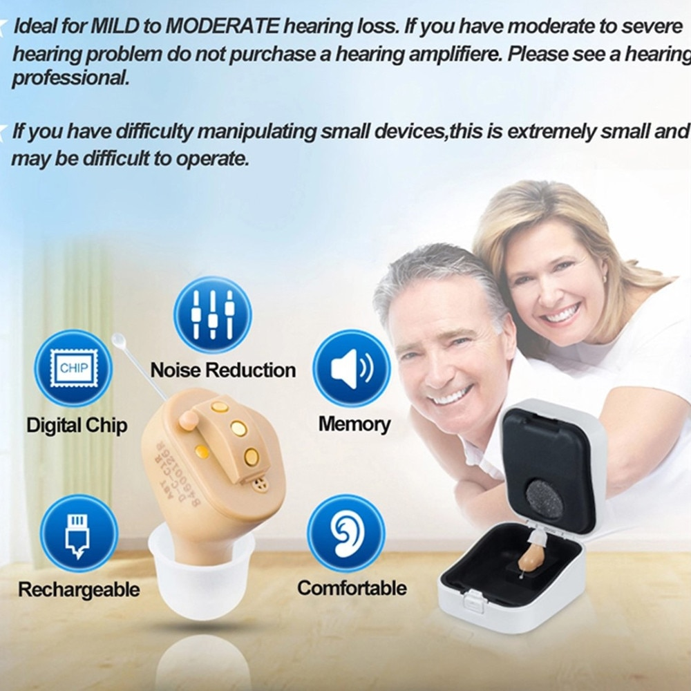 Audífono Invisible completo C55 recargable, audífono Digital con 6 CANALES, 8 bandas USB, audífonos CIC recargables