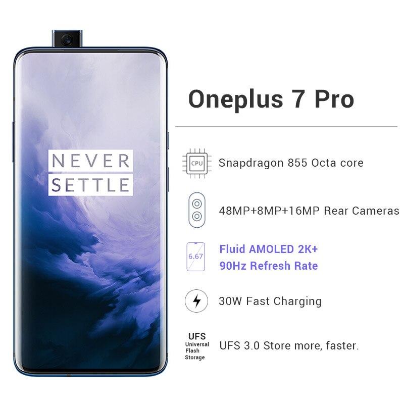 Перейти на Алиэкспресс и купить Глобальный Встроенная память Oneplus 7 Pro мобильный телефон 12 Гб 256 Snapdragon 855 6,67 дюйм90 ГГц 2K Экран 48MP NFC