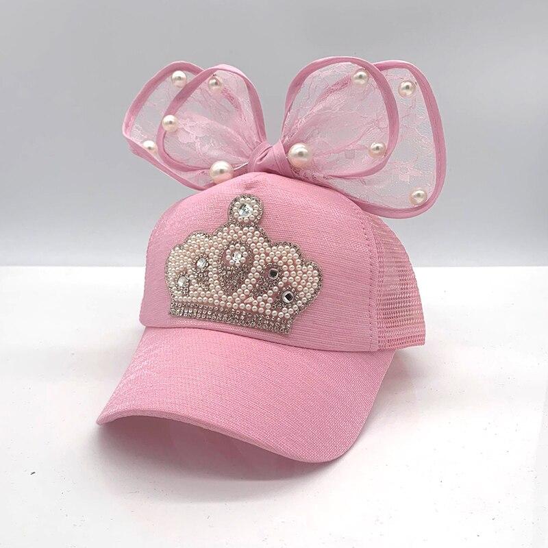 Śliczne dziewczyny czapka z daszkiem wiosna lato dzieci czapka z daszkiem dziecko księżniczka Snapback Hip Hop czapki ucho królika perła duża kokarda dzieci słońce Ha