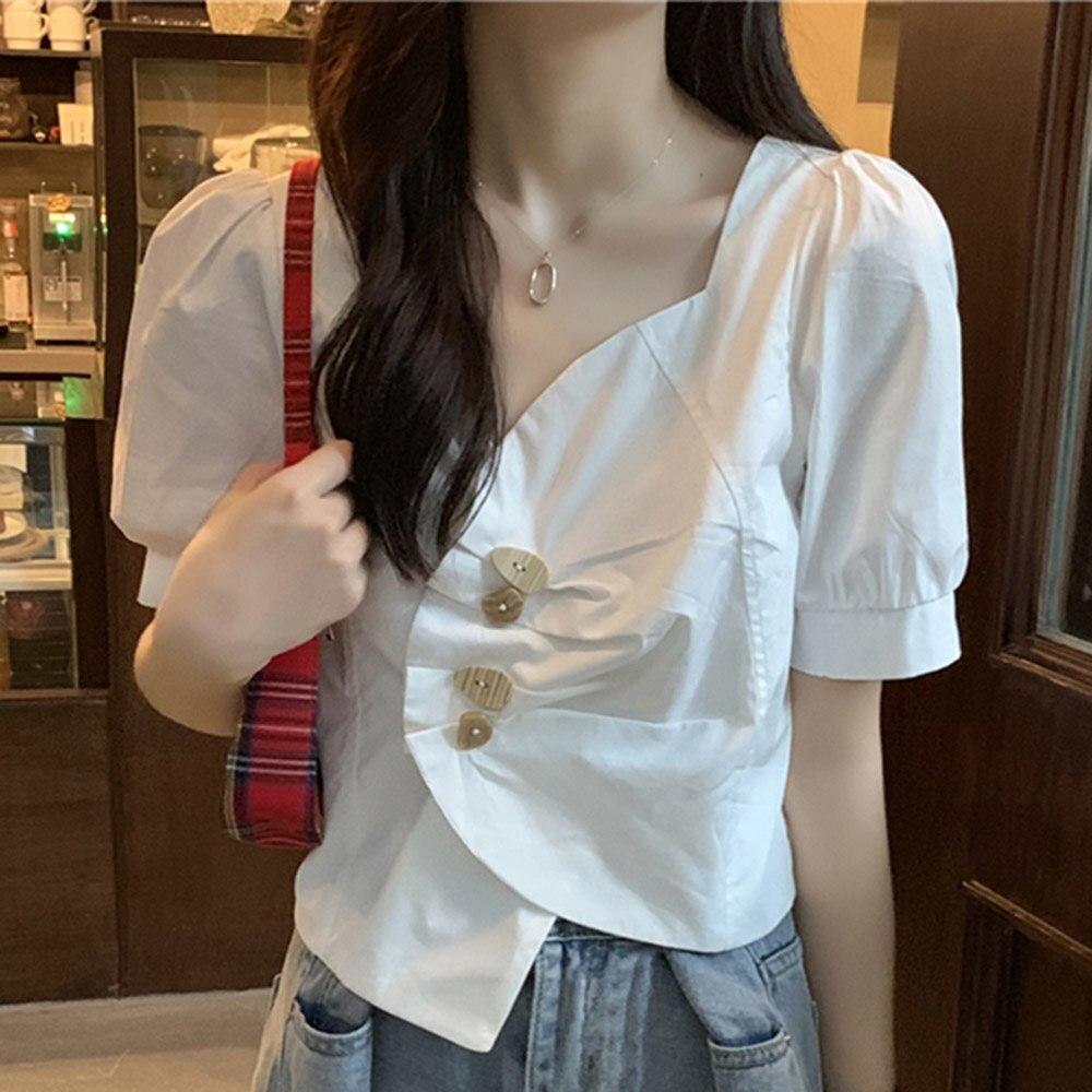 Women Blouse Irregular V-neck  White Shirt Ladies Design Sense Bubble Short Sleeves Student Young Fa