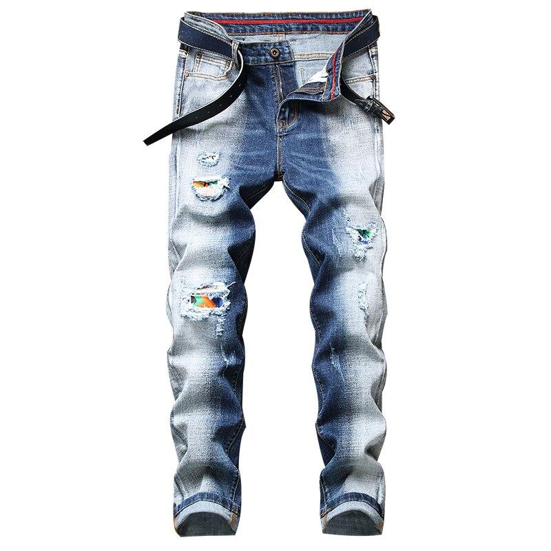Мужские рваные джинсы Mew, мужские Стрейчевые джинсы, прямые джинсы, технология ink splash, модные тренды, мужские Стрейчевые джинсы, персонализир...
