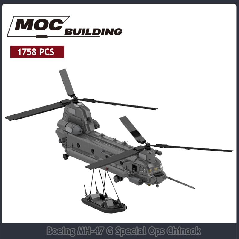 Ww2 الاطفال moc كتلة الطوب البرمائية الطائرات التجمع لعبة الحرف بوينغ هدايا عيد الميلاد بوينغ MH-47 G خاص أوبس Chinook