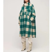 back women woolen mid length coat 2021 winter single breasted ladies plaid long sleeve outwear tops with double pockets
