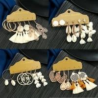 new fashion bohemian tassel earrings for women ethnic chic beautiful white handmade big dangle drop earrings female jewelry