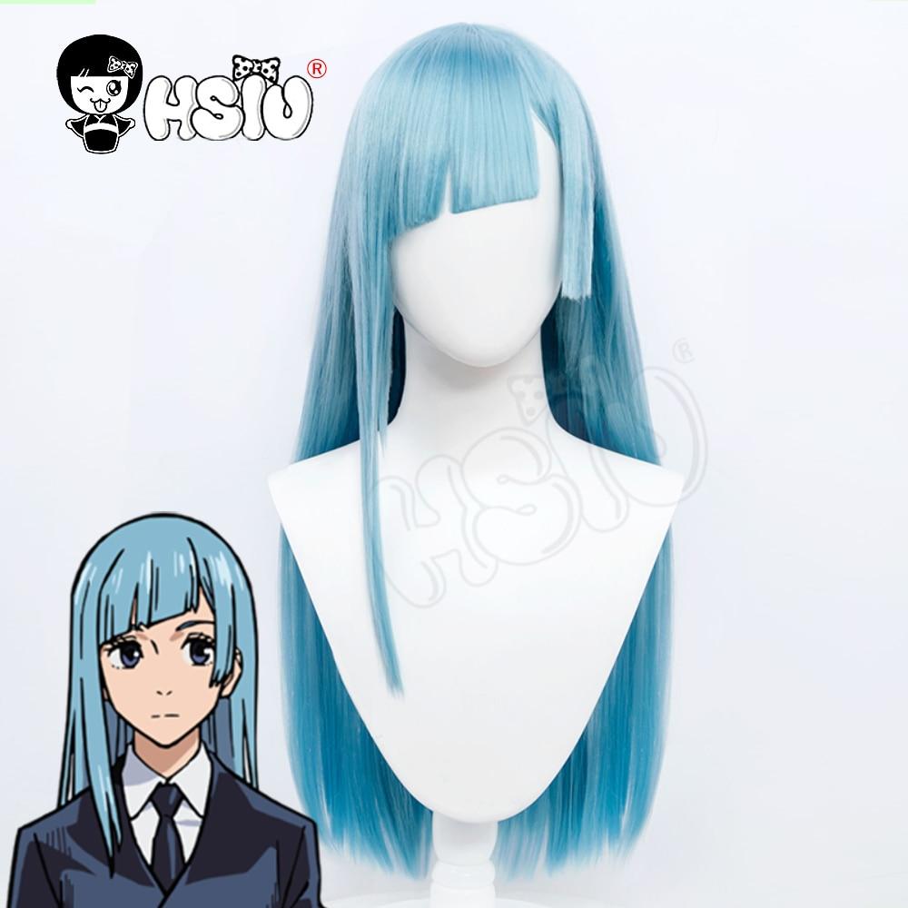 شعر مستعار تأثيري HSIU Miwa Kasumi ، شعر مستعار أنيمي Jujutsu Kaisen ، شعر طويل رمادي أزرق + قبعة شعر مستعار علامة تجارية مجانية