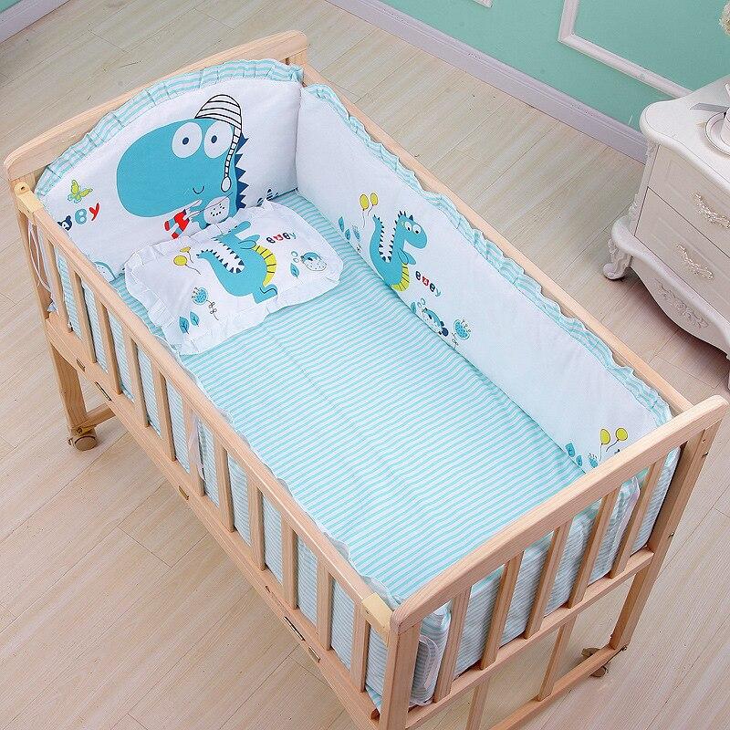 5pcs Newborn Baby Bedding Set Kids Crib Bumper Cartoon Animal Baby Cot Protector 100% Cotton Baby Beddings Bumper 60*100cm ZT31