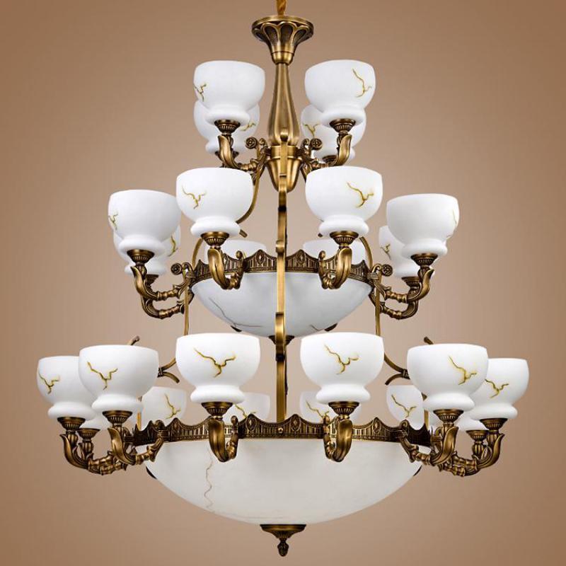 Xl gran candelabro de latón Vintage lámpara de cobre Pantalla de Cristal accesorio colgante para la Iglesia sala de estar candelabros E27 Led Lustre