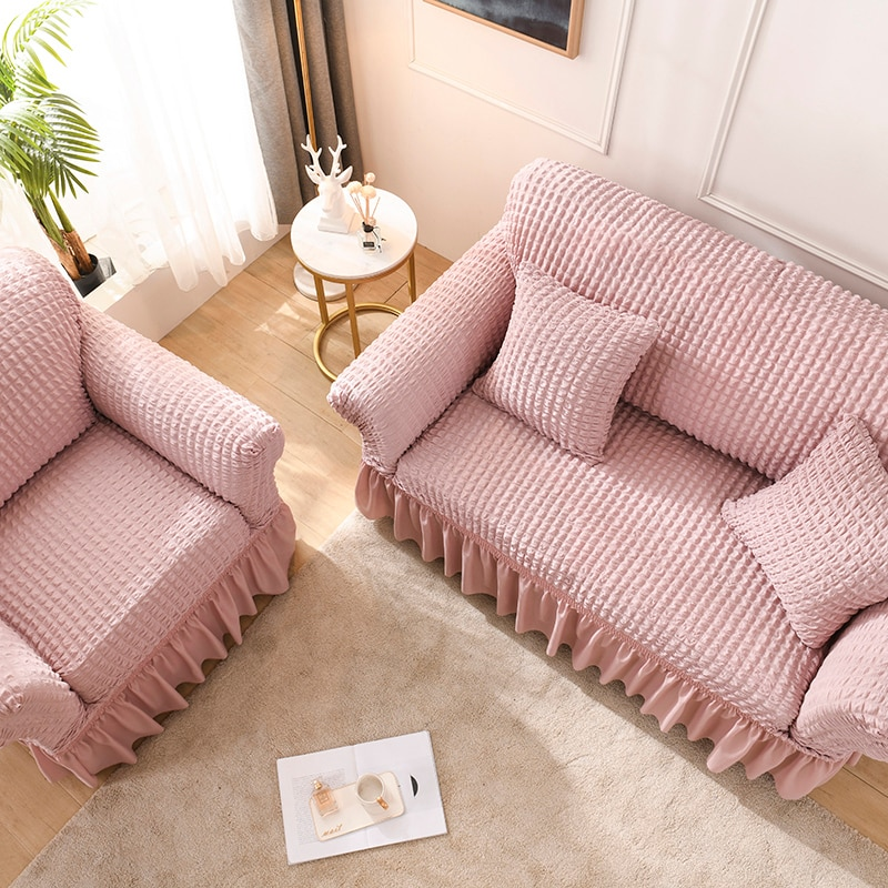 Novo sofá toalha elástica capa de sofá seersucker capa de sofá capas para sala estar trecho slipcover funda sofá chaise lounge
