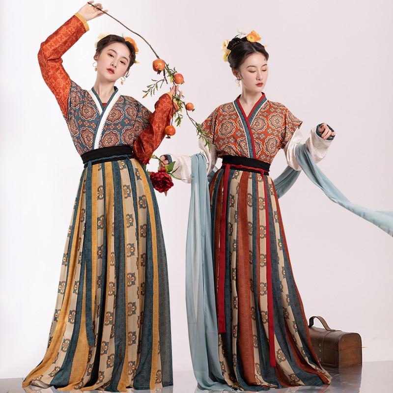 الصينية التقليدية الشعبية ملابس رقص النساء القديمة Hanfu فستان الشرقية نمط تانغ سلالة الرقص ملابس فتاة تأثيري Hanfu