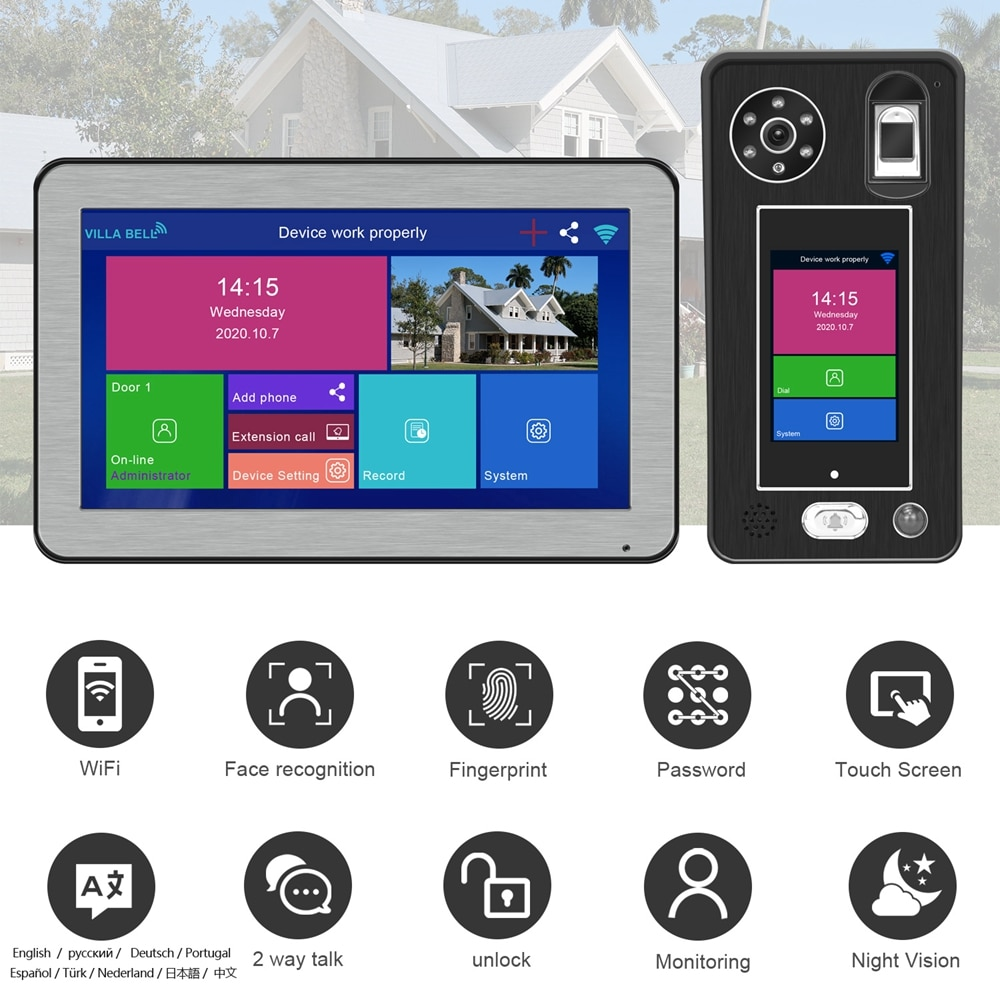 WIFI Video Intercom Face Recognition IP Doorbell Wireless Home Intercom with lock Touch Screen Fingerprint Password Night Vision enlarge