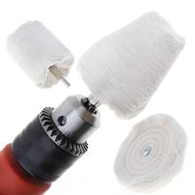 Cylinder stożek w kształcie litery T białe płótno polerowanie koła bufor lustrzany podkładka bawełniana z chwytem 6mm do polerowania szlifowanie drewna metalowego