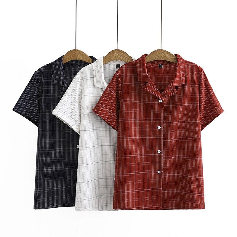 2020 nueva moda oversize más tamaño verano camiseta Teeshirt camiseta Casual corto Regular a cuadros